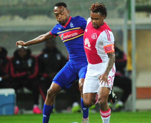 Granwald Scott of Ajax Cape Town and Thabo Mnyamane of Tuks battle for possession during the Absa Premiership 2015/16 game between Ajax Cape Town and University of Pretoria at Athlone Stadium, Cape Town on 21 October 2015 ©Ryan Wilkisky/Backpagepix