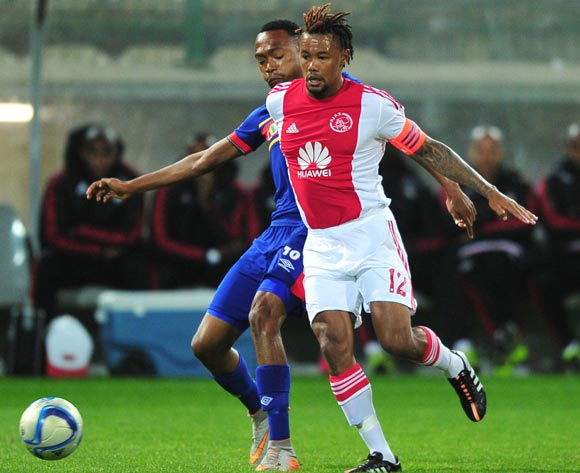 Granwald Scott of Ajax Cape Town and Thabo Mnyamane of University of Pretoria battle for possession during the Absa Premiership 2015/16 game between Ajax Cape Town and University of Pretoria at Athlone Stadium, Cape Town on 21 October 2015 ©Ryan Wilkisky/Backpagepix