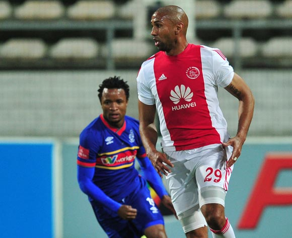 Nathan Paulse of Ajax Cape Town controls ahead of Partson Jaure of Tuks during the Absa Premiership 2015/16 game between Ajax Cape Town and University of Pretoria at Athlone Stadium, Cape Town on 21 October 2015 ©Ryan Wilkisky/Backpagepix