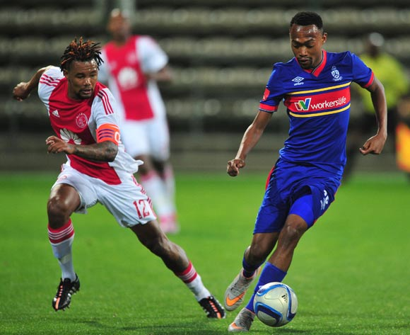 Thabo Mnyamane of Tuks controls ahead of Granwald Scott of Ajax Cape Town during the Absa Premiership 2015/16 game between Ajax Cape Town and University of Pretoria at Athlone Stadium, Cape Town on 21 October 2015 ©Ryan Wilkisky/Backpagepix