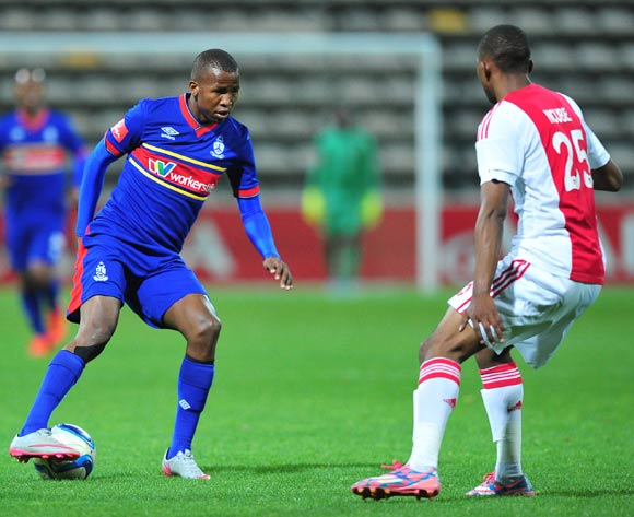Thabo Mnyamane of Tuks prepares to take on Milton Ncube of Ajax Cape Town during the Absa Premiership 2015/16 game between Ajax Cape Town and University of Pretoria at Athlone Stadium, Cape Town on 21 October 2015 ©Ryan Wilkisky/Backpagepix
