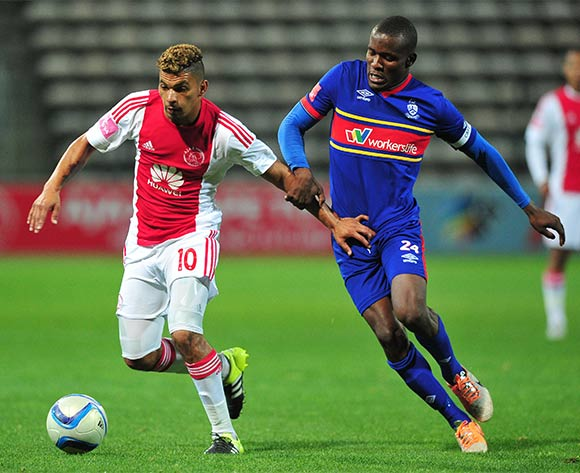 Toriq Losper of Ajax Cape Town holds off the attention of Ronald Ketjijere of Tuks during the Absa Premiership 2015/16 game between Ajax Cape Town and University of Pretoria at Athlone Stadium, Cape Town on 21 October 2015 ©Ryan Wilkisky/Backpagepix