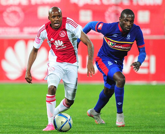 Bantu Mzwakali of Ajax Cape Town pulls away during the Absa Premiership 2015/16 game between Ajax Cape Town and University of Pretoria at Athlone Stadium, Cape Town on 21 October 2015 ©Ryan Wilkisky/Backpagepix