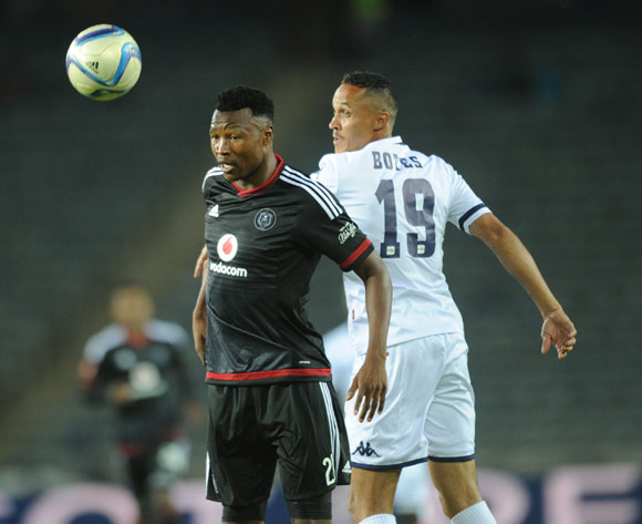 Siyabonga Sangweni of Orlando Pirates  is challenged by Henrico Botes of Bidvest Wits  during the Absa Premiership match between Orlando Pirates and Bidvest Wits  on 21 October 2015 at Orlando Stadium Pic Sydney Mahlangu/ BackpagePix