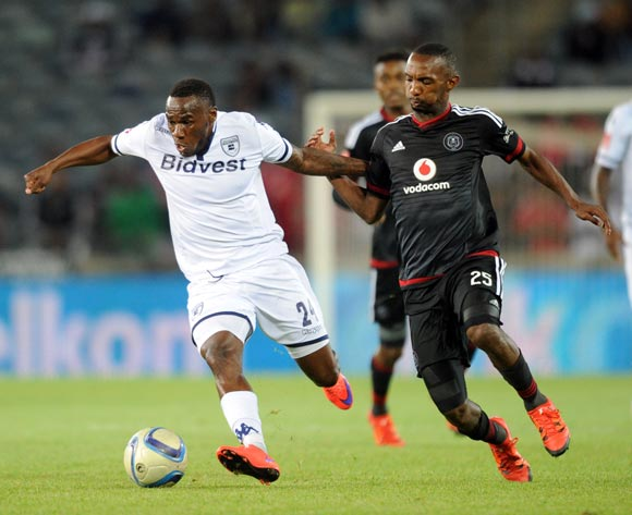 Thabo Rakhale of Orlando Pirates challenges Onismor Bhasera of Bidvest Wits  during the Absa Premiership match between Orlando Pirates and Bidvest Wits  on 21 October 2015 at Orlando Stadium Pic Sydney Mahlangu/ BackpagePix