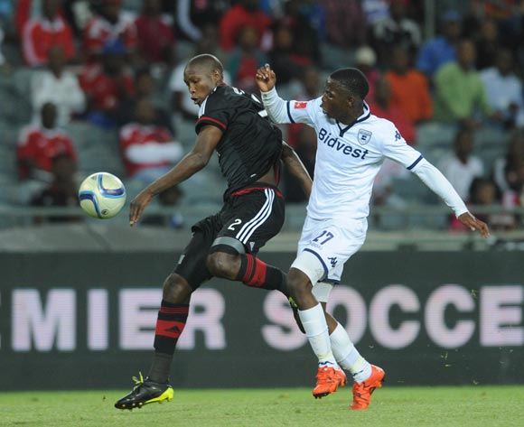 Ayanda Gcaba of Orlando Pirates challenges Phakamani Mahlambi of Bidvest Wits  during the Absa Premiership match between Orlando Pirates and Bidvest Wits  on 21 October 2015 at Orlando Stadium Pic Sydney Mahlangu/ BackpagePix