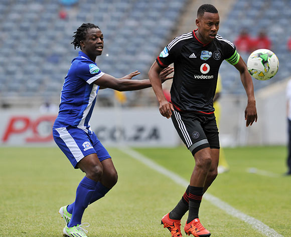 Happy Jele of Orlando Pirates challenged by Khumbulani Banda of Maritzburg United during the 2015 Telkom Knockout last 8 match between Orlando Pirates and Maritzburg United  at Orlando Stadium, Soweto on the 24 October 2015