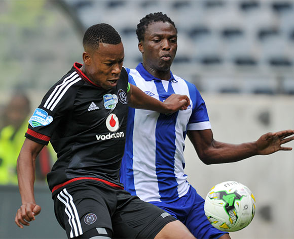Khumbulani Banda of Maritzburg United challenged by Happy Jele of Orlando Pirates during the 2015 Telkom Knockout last 8 match between Orlando Pirates and Maritzburg United  at Orlando Stadium, Soweto on the 24 October 2015