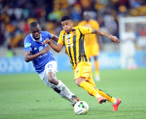 George Lebese of Kaizer Chiefs is challenged by Mpho Matsi of Black Aces  during the Telkom Knockout Quarter Final match between Black Aces and Kaizer Chiefs on 24 October 2015 at Mbombela Stadium Pic Sydney Mahlangu/ BackpagePix
