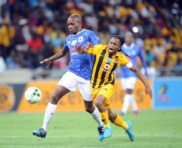 Siphiwe Tshabalala of Kaizer Chiefs is challenged by Lehlohonolo Nonyane  of Black Aces  during the Telkom Knockout Quarter Final match between Black Aces and Kaizer Chiefs on 24 October 2015 at Mbombela Stadium Pic Sydney Mahlangu/ BackpagePix