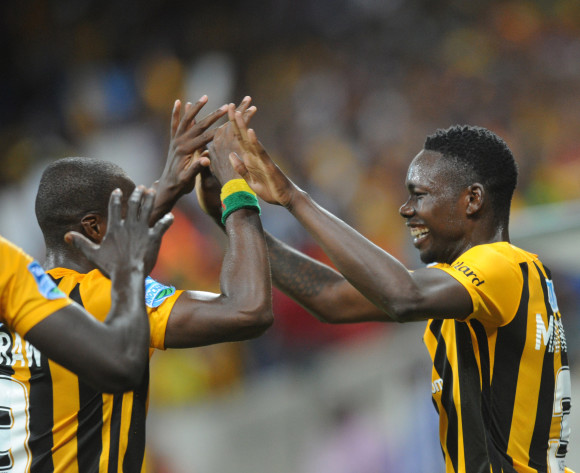 Erick Mathoho of Kaizer Chiefs (r)celebrates with teammates   during the Telkom Knockout Quarter Final match between Black Aces and Kaizer Chiefs on 24 October 2015 at Mbombela Stadium Pic Sydney Mahlangu/ BackpagePix