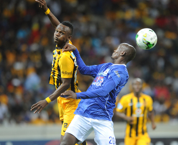 Judas Moseamedi of Black Aces challenges Siboniso Gaxa of Kaizer Chiefs  during the Telkom Knockout Quarter Final match between Black Aces and Kaizer Chiefs on 24 October 2015 at Mbombela Stadium Pic Sydney Mahlangu/ BackpagePix