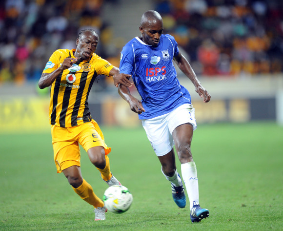 Lehlohonolo Nonyane of Black Aces challenges Reneilwe Letsholonyane  of Kaizer Chiefs  during the Telkom Knockout Quarter Final match between Black Aces and Kaizer Chiefs on 24 October 2015 at Mbombela Stadium Pic Sydney Mahlangu/ BackpagePix