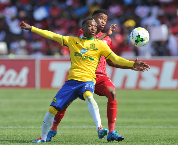 Khama Billiat of mamelodi Sundowns challenged by Bokang Tlhone of Free State Stars during the 2015 Telkom Knockout last 8 match between Free State Stars and Mamelodi Sundowns  at Goble Park Stadium, Bethlehem on the 25 October 2015