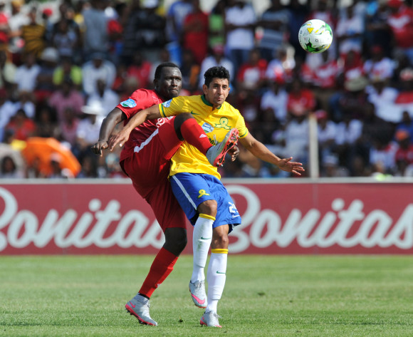 Leonardo Castro of Mamelodi Sundowns battles with Robert Sankara of Free State Stars during the 2015 Telkom Knockout last 8 match between Free State Stars and Mamelodi Sundowns  at Goble Park Stadium, Bethlehem on the 25 October 2015