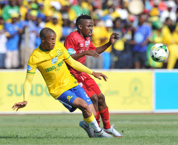 Thabo Nthethe of Mamelodi Sundowns battles with Mrisho Ngasa of Free State Stars during the 2015 Telkom Knockout last 8 match between Free State Stars and Mamelodi Sundowns  at Goble Park Stadium, Bethlehem on the 25 October 2015
