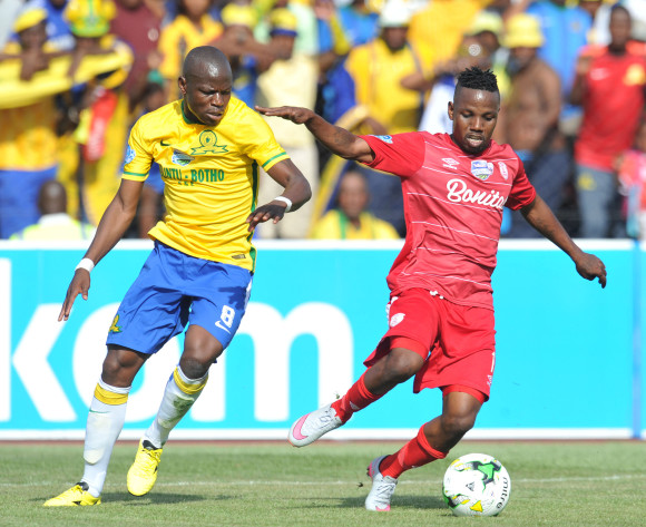 Mrisho Ngasa of Free State Stars challenged by Hlompho Kekana of Mamelodi Sundowns during the 2015 Telkom Knockout last 8 match between Free State Stars and Mamelodi Sundowns  at Goble Park Stadium, Bethlehem on the 25 October 2015 ©Muzi Ntombela/BackpagePix