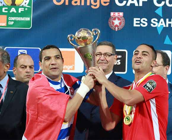 Etoile Du Sahel players celebrates their win during the CAF Confederations Cup Final 2nd Leg match between Etoile Du Sahel and Orlando Pirates on 29 November 2015 at Olympic Stadium in Sousse/ BackpagePix
