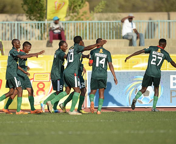 BDF XI players celebrating a goal during the Mascom Top8 quarter final match between Gaborone United and BDF XI at the Molepolole sports complex in Botswana on 1 November 2015. Back page pix/Mnirul Bhuiyan