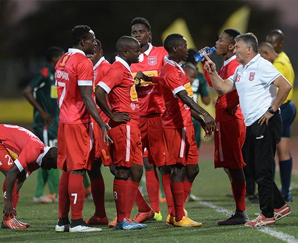 Gaborone United coach Dragojlo Stanojlovic interacting with the players during the Mascom Top8 quarter final match between Gaborone United and BDF XI at the Molepolole sports complex in Botswana on 1 November 2015.Back page pix/Mnirul Bhuiyan