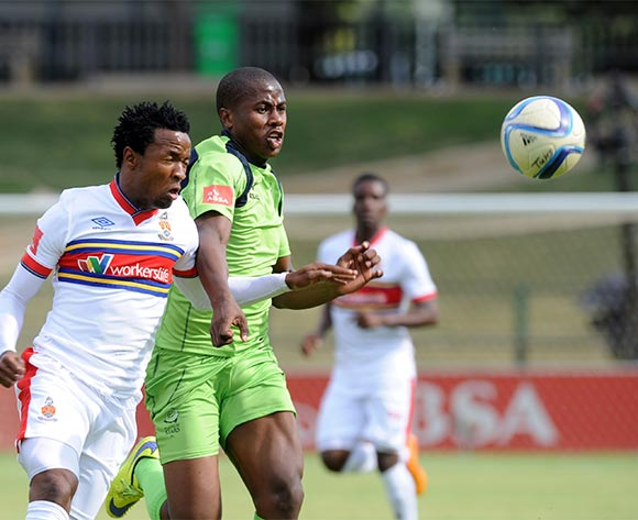 Bonginkosi Ntuli of Platinum Stars challenges Partson Jaure of University of Pretoria during the Absa Premiership match between University of Pretoria and Platinum Stars  on 31 October 2015 at Tuks Stadium Pic Sydney Mahlangu/ BackpagePix