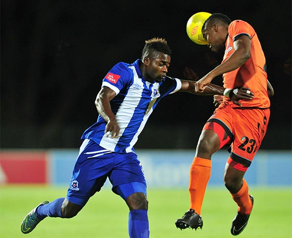 Tshepo Tema of Polokwane City battles with Yakubu Mohammed of Maritzburg United during the Absa Premiership 2015/16 match between Maritzburg United and Polokwane City at Harry Gwala Stadium, Pietermaritzburg on the 03 November 2015 ©Muzi Ntombela/BackpagePix
