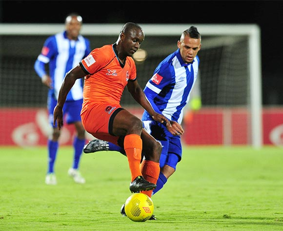 Jabulani Nene of Polokwane City challenged by Ryan De Jongh of Maritzburg United during the Absa Premiership 2015/16 match between Maritzburg United and Polokwane City at Harry Gwala Stadium, Pietermaritzburg on the 03 November 2015 ©Muzi Ntombela/BackpagePix