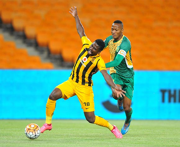 Kgotso Moleko of Kaizer Chiefs challenged by Matome Mathiane of Golden Arrows during the 2015/16 Absa Premiership football match between Kaizer Chiefs and Golden Arrows at the FNB Stadium in Johannesburg, South Africa on November 03, 2015 ©Samuel Shivambu/BackpagePix