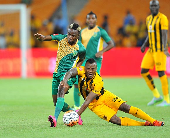 Tsepo Masilela of Kaizer Chiefs  challenged by Kudakwashe Mahachi of Golden Arrows during the 2015/16 Absa Premiership football match between Kaizer Chiefs and Golden Arrows at the FNB Stadium in Johannesburg, South Africa on November 03, 2015 ©Samuel Shivambu/BackpagePix