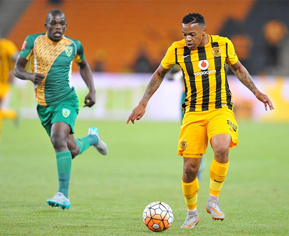 Edward Manqele of Kaizer Chiefs challenged by Siyabonga Dube of Golden Arrows during the 2015/16 Absa Premiership football match between Kaizer Chiefs and Golden Arrows at the FNB Stadium in Johannesburg, South Africa on November 03, 2015 ©Samuel Shivambu/BackpagePix