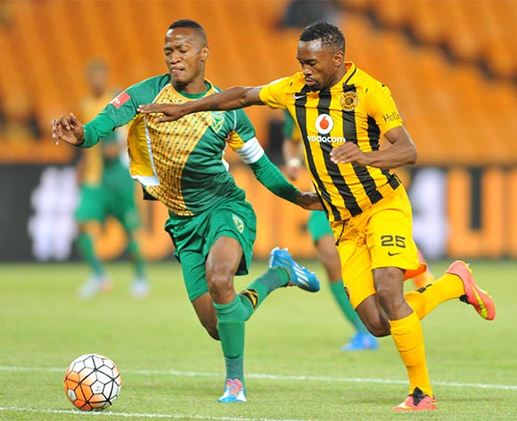 Bernard Parker of Kaizer Chiefs challenged by Thembela Sikhakhane of Golden Arrows during the 2015/16 Absa Premiership football match between Kaizer Chiefs and Golden Arrows at the FNB Stadium in Johannesburg, South Africa on November 03, 2015 ©Samuel Shivambu/BackpagePix