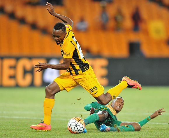 Bernard Parker of Kaizer Chiefs tackled by Thembela Sikhakhane of Golden Arrows during the 2015/16 Absa Premiership football match between Kaizer Chiefs and Golden Arrows at the FNB Stadium in Johannesburg, South Africa on November 03, 2015 ©Samuel Shivambu/BackpagePix