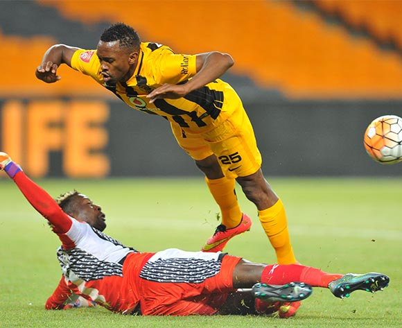 Bernard Parker of Kaizer Chiefs tackled by Maxamilian Mbaeva of Golden Arrows during the 2015/16 Absa Premiership football match between Kaizer Chiefs and Golden Arrows at the FNB Stadium in Johannesburg, South Africa on November 03, 2015 ©Samuel Shivambu/BackpagePix