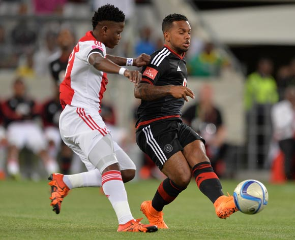 Kermit Erasmus of Orlando Pirates evades challenge from Ndiviwe Mdabuka of Ajax Cape Town during the Absa Premiership 2015/16 football match between Ajax Cape Town and Orlando Pirates at Cape Town Stadium, Cape Town on 4 November 2015 ©Chris Ricco/BackpagePix