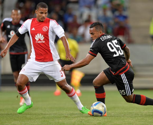 Kermit Erasmus of Orlando Pirates runs at Rivaldo Coetzee of Ajax Cape Town during the Absa Premiership 2015/16 football match between Ajax Cape Town and Orlando Pirates at Cape Town Stadium, Cape Town on 4 November 2015 ©Chris Ricco/BackpagePix