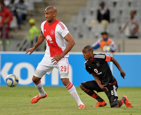 Nathan Paulse of Ajax Cape Town evades challenge from Thabo Matlaba of Orlando Pirates during the Absa Premiership 2015/16 football match between Ajax Cape Town and Orlando Pirates at Cape Town Stadium, Cape Town on 4 November 2015 ©Chris Ricco/BackpagePix