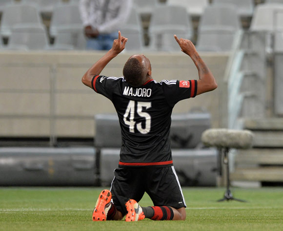 Lehlohonolo Majoro of Orlando Pirates celebrates goal during the Absa Premiership 2015/16 football match between Ajax Cape Town and Orlando Pirates at Cape Town Stadium, Cape Town on 4 November 2015 ©Chris Ricco/BackpagePix