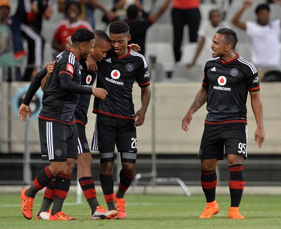 Lehlohonolo Majoro of Orlando Pirates celebrates goal with teammates during the Absa Premiership 2015/16 football match between Ajax Cape Town and Orlando Pirates at Cape Town Stadium, Cape Town on 4 November 2015 ©Chris Ricco/BackpagePix