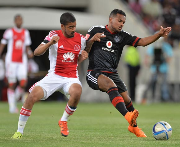 Kermit Erasmus of Orlando Pirates battles for the ball with Abbubaker Mobara of Ajax Cape Town during the Absa Premiership 2015/16 football match between Ajax Cape Town and Orlando Pirates at Cape Town Stadium, Cape Town on 4 November 2015 ©Chris Ricco/BackpagePix