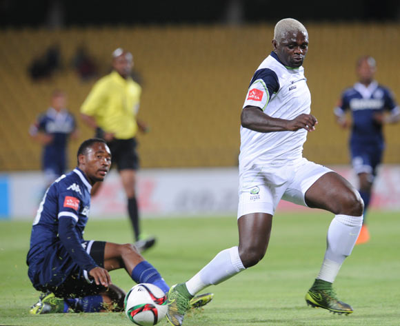 Sibusiso Vilakazi of Bidvest Wits challenges Emmanuel Mathias of Platinum Stars   during the Absa Premiership match between Platinum Stars and Bidvest Wits  on 04 November 2015 at Royal Bafokeng Stadium Pic Sydney Mahlangu/ BackpagePix