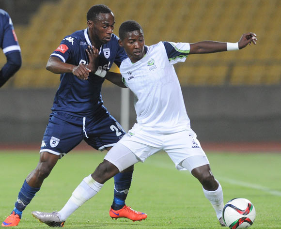 Onismor Bhasera of Bidvest Wits challenges Masibusane Zongo of Platinum Stars   during the Absa Premiership match between Platinum Stars and Bidvest Wits  on 04 November 2015 at Royal Bafokeng Stadium Pic Sydney Mahlangu/ BackpagePix