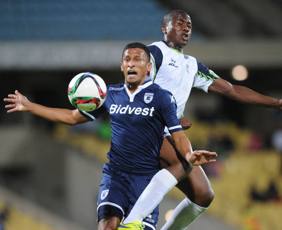 Bonginkosi Ntuli of Platinum Stars challenges Nazeer Allie of Bidvest Wits during the Absa Premiership match between Platinum Stars and Bidvest Wits  on 04 November 2015 at Royal Bafokeng Stadium Pic Sydney Mahlangu/ BackpagePix