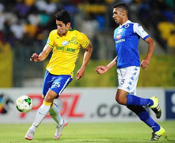 Leonardo Castro of Mamelodi Sundowns challenged by Denwin Farmer of Supersport United during the 2015 Telkom Knockout SemiFinal match between Mamelodi Sundowns and Supersport United at the Lucas Moripe Stadium in Pretoria, South Africa on November 07, 2015 ©Samuel Shivambu/BackpagePix