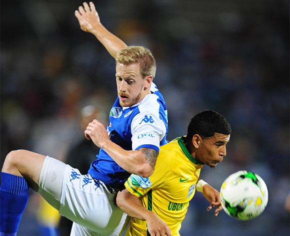 Keagan Dolly of Mamelodi Sundowns challenged by Michael Morton of Supersport United during the 2015 Telkom Knockout SemiFinal match between Mamelodi Sundowns and Supersport United at the Lucas Moripe Stadium in Pretoria, South Africa on November 07, 2015 ©Samuel Shivambu/BackpagePix