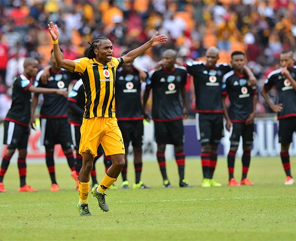 Siphiwe Tshabalala of Kaizer Chiefs celebrates in front of Pirates line up after Lorenzo Gordinho (not in picture) scores in the penalty shootout during the 2015 Telkom Knockout football match between Kaizer Chiefs and Orlando Pirates at Soccer City in Johannesburg, South Africa on 07 November 2015 ©Gavin Barker/BackpagePix