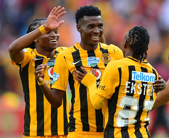 Siphiwe Tshabalala of Kaizer Chiefs (l) celebrates with teammates Hendrick Ekstein and Lucky Baloyi as Chiefs win in the penalty shootout during the 2015 Telkom Knockout football match between Kaizer Chiefs and Orlando Pirates at Soccer City in Johannesburg, South Africa on 07 November 2015 ©Gavin Barker/BackpagePix