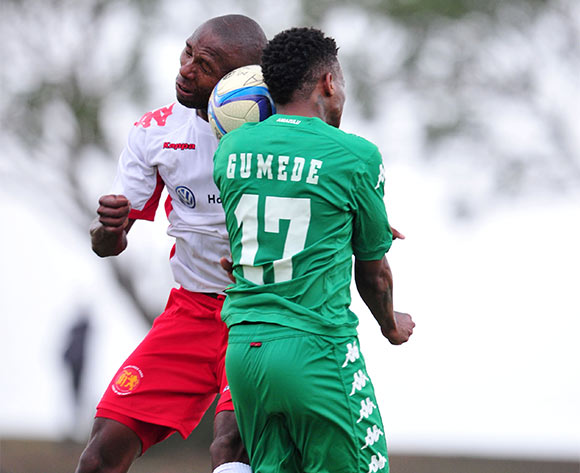 Mbongeni Gumede of AmaZulu battles with Mothibi Mvala of Highlands Park during the National First Division 2015/16 match between AmaZulu and Highlands Park at Princess Magogo Stadium, KwaMashu on the 07 November 2015 ©Muzi Ntombela/BackpagePix