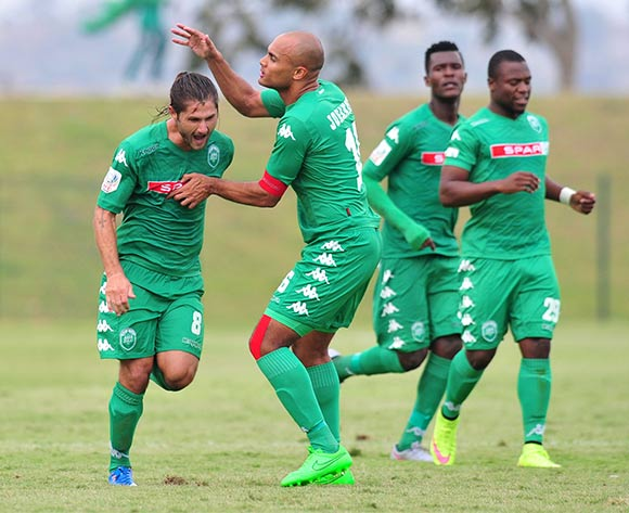 Marc van Heerden of AmaZulu celebrates his goal with teammates during the National First Division 2015/16 match between AmaZulu and Highlands Park at Princess Magogo Stadium, KwaMashu on the 07 November 2015 ©Muzi Ntombela/BackpagePix