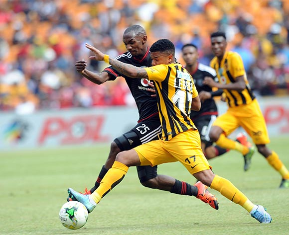 Thabo Rakhale of Orlando Pirates challenges George Lebese of Kaizer Chiefs during the Telkom Knockout Semi Final match between Kaizer Chiefs and Orlando Pirates  on 07 November 2015 at FNB Stadium Pic Sydney Mahlangu/ BackpagePix