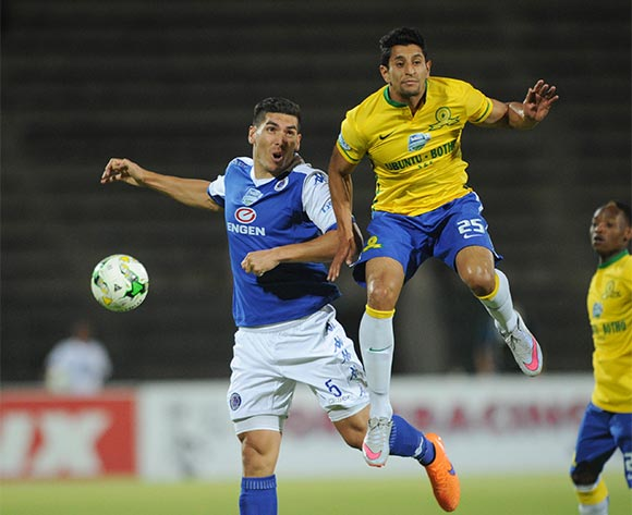 Leonardo Castro of Mamelodi Sundowns    is challenged by Michael Boxall of Supersport United during the Telkom Knockout Semi Final match between Mamelodi Sundowns and Supersport United  on 07 November 2015 at Lucas Moripe Stadium Pic Sydney Mahlangu/ BackpagePix